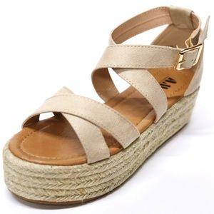 0d1782846b6 AMS Shoes - New Natural Cross Strap Platform Espadrille Sandal